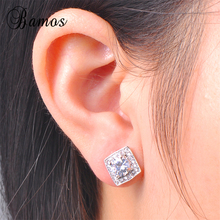 Bamos Women White Round Stud Earring With AAA Zircon 925 Ste