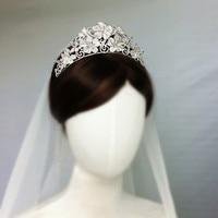Bridal Zircon Tiara Headpiece Flower CZ Wedding Crown Headband Hair Jewelry Diademe Couronne De Mariage Bijoux Cheveux WIGO1385