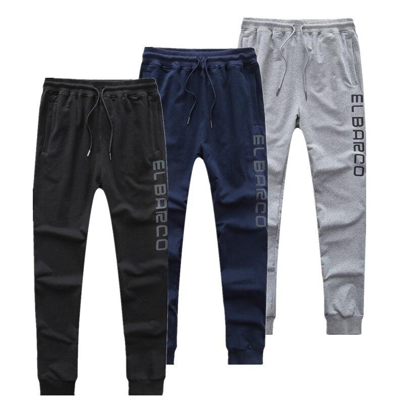 El Barco Cotton Casual Pants Men Discolored Letter Long Skinny Men's Pants Black Blue Grey Male Joggers Sweatpants Soft Trousers
