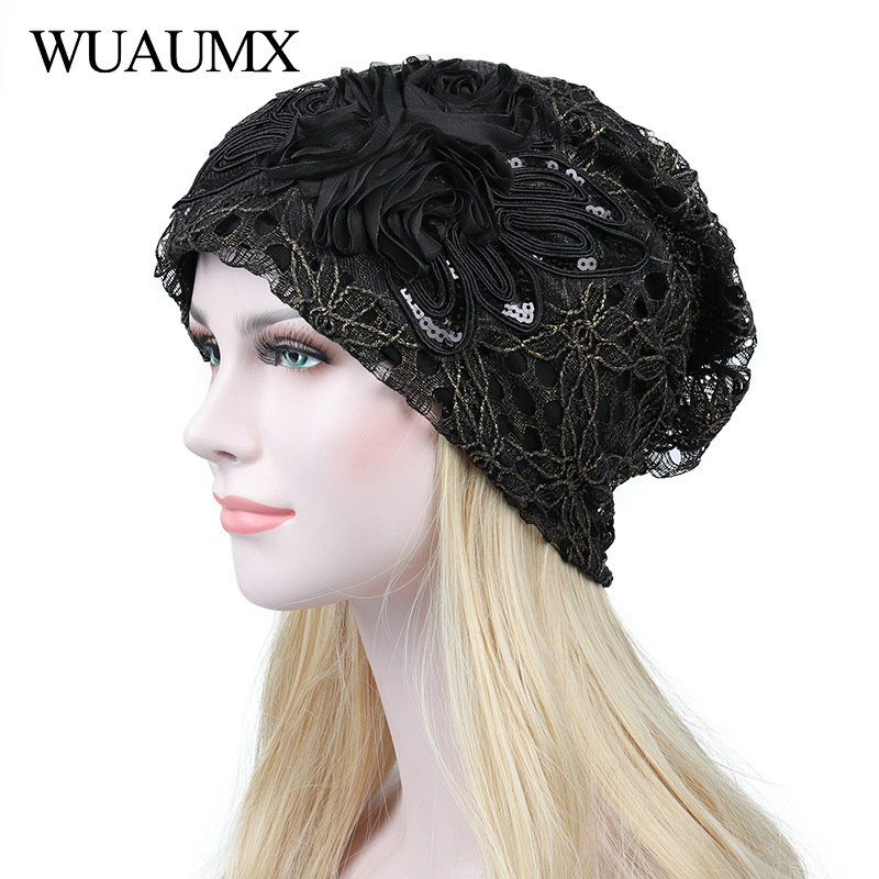 Wuaumx Brand Spring Breathable   Beanies   Hats For Women Hollow Lace   Skullies     Beanie   Cap Female Thin bonnet femme Drop Shipping