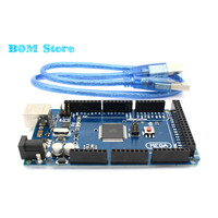 Freeshipping Mega 2560 R3 Mega2560 REV3 ATmega2560 16AU Board USB Cable Compatible For Arduino Mega 2560
