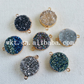 WT-C092 Unique round connector pendants natural titanium druzy quartz with 24k gold electroplated colors beautiful connectors