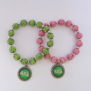AKA charm pink green Sorority bead pearl bracelet Jewelry Alpha Kapp Alpha Sorority