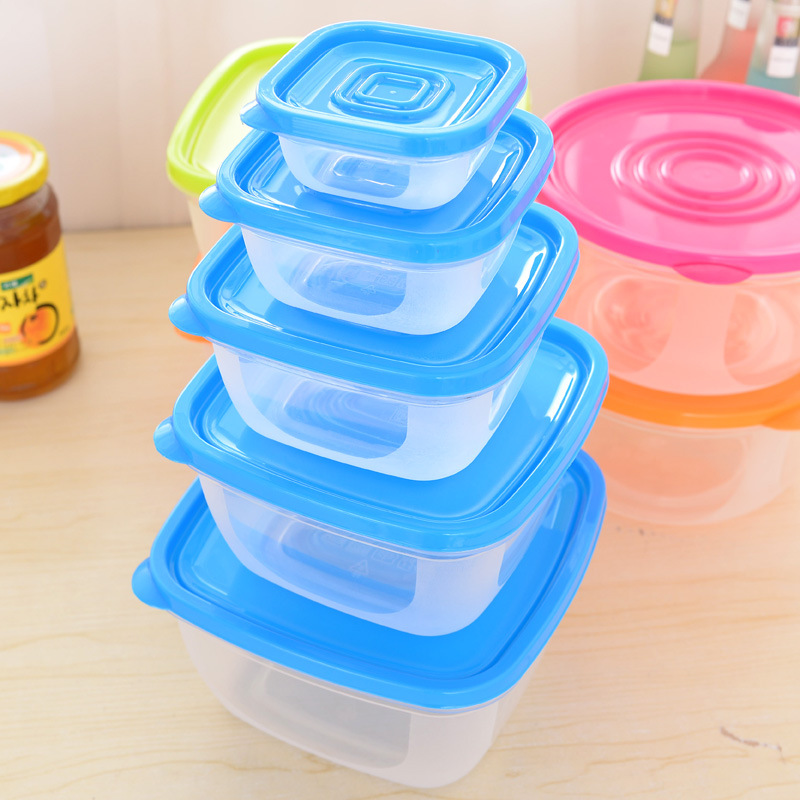 WBBOOMING 5Pcs/Set Square Kitchen Fridge Food Container Lunch Box Multi Capacity Save Space Fresh Vegetable Fruit Storage Boxes 2