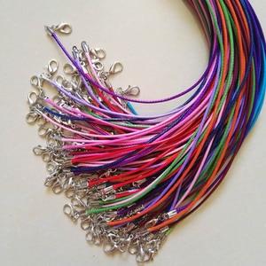 Image 4 - Broche de langosta de 1,5mm, 100 unidades de cuerda de cuero de cera mixta, collar, colgante de cuerda de 45cm, joyería diy, colgantes, venta al por mayor