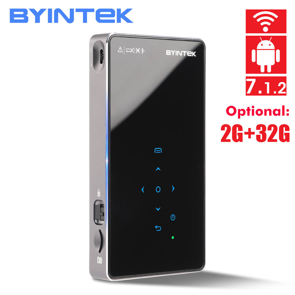 BYINTEK UFO P8I Android 7.1 OS Pico Pocket HD Portable Micro WIFI Bluetooth Mini LED DLP Projector with Battery doctor bag