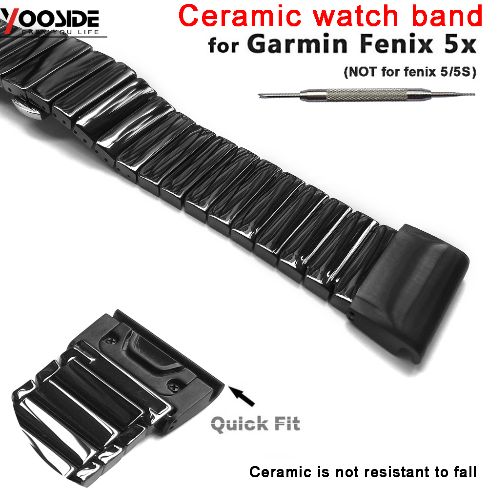 Metal Quick Fit Butterfly Buckle Ceramic Wristband for Garmin Fenix 5X/5X  Plus/Fenix 3/3 HR/D2 Charlie/ Descent Mk1 watch band-in Smart Accessories