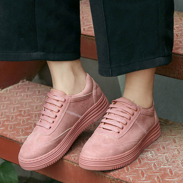 5536ac88c3bc0 2018 Spring Genuine Leather Women Sneakers Fashion Pink Shoes Woman Lace up  White Sneaker Shoes Platform