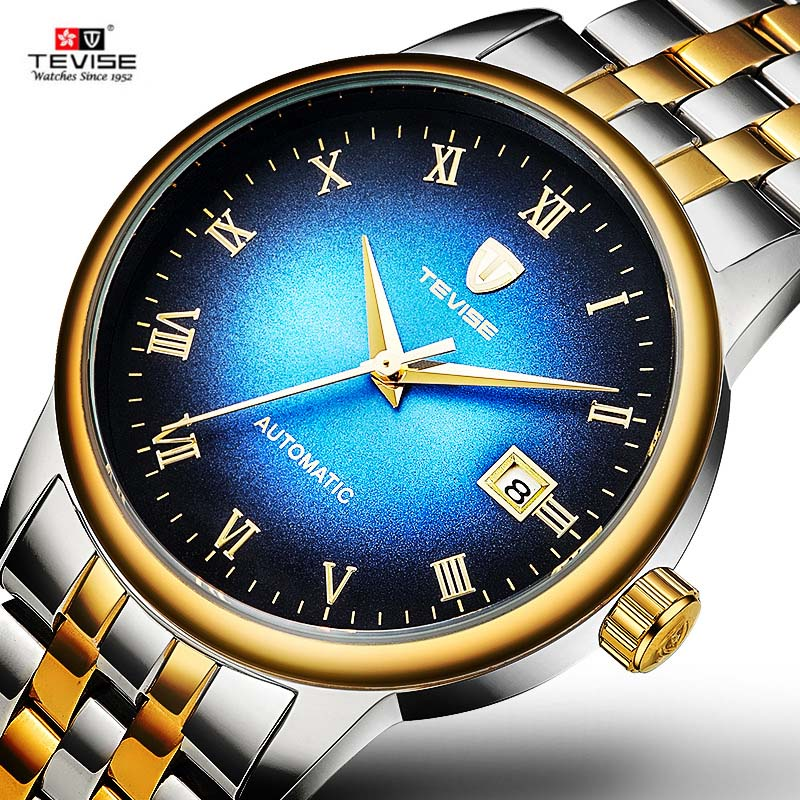 2018 New Tevise Brand Men Mechanical Watch Automatic Date Starry Sky Watches Fashion Business Man Waterproof Clock Montre Homme tevise fashion auto date automatic self wind watches stainless steel luxury gold black watch men mechanical t629a with tool
