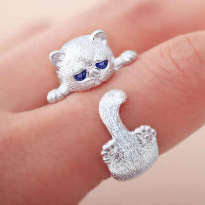 Silver Plated Cat ออกแบบน่ารักแฟชั่นเครื่องประดับแมวแหวนผู้หญิงและสาวของขวัญปรับ charms Anel