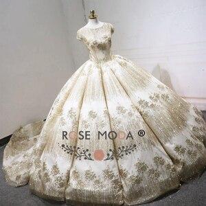 Image 2 - עלה שמפניה שמלת כלה נצנצים שרוולים קצרים 2018 יוקרה Moda מוסלמי כדור שמלת חתונת שמלות ארוכה רכבת ערבית