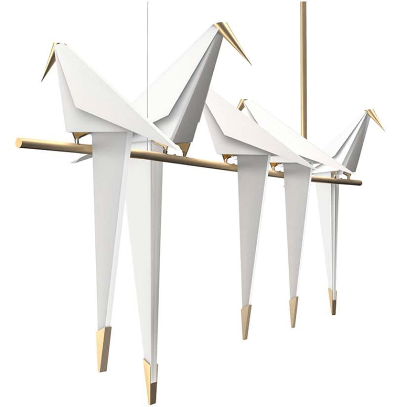 BOKT Nordic Suspension Luminaire Modern White Thousand Paper Crane Hanging Lamp Dining Room Bedroom Kitchen Home Pendant Lights