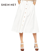 Sheinnet 2017 White Female A-line Skirts Single Button Spring Midi Skirts For Women Sweet Casual Womens Skirt New Arrival 2017