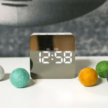 Multifunction Mirror LED Digital Alarm Clock Time Snooze Temperature Display Night Mode TB Sale