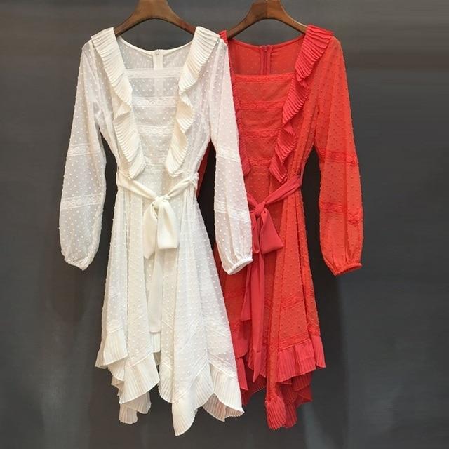 Top Grade Designer Dress 2019 Spring Summer Fashion Party Sexy Dresses Women Ruffle Long Sleeve Asymmetrical Dress White Orange