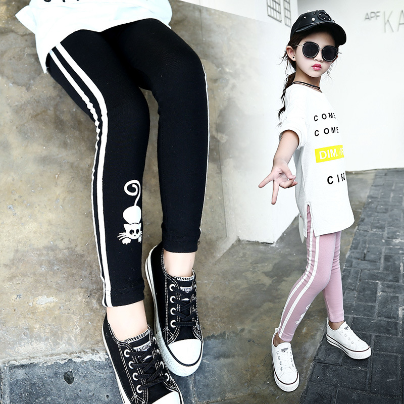 Girls Cartoon Skinny Trousers 2017 Kids Spring Autumn Leggings Children Slim Pants 4 6 8 10 12 14 Years Girl Pants Leggings цена 2017