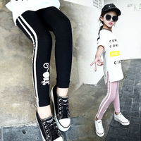Girls Cartoon Skinny Trousers 2017 Kids Spring Autumn Leggings Children Slim Pants 4 6 8 10