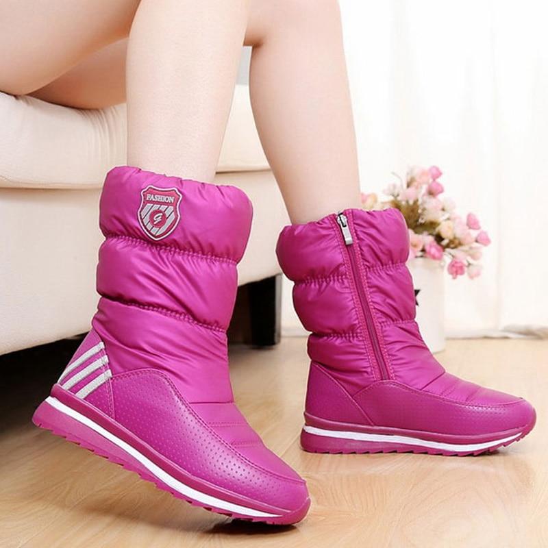 ФОТО Women boots 2017 Winter New Outdoor Waterproof Cloth Non-Slip Women Boots Mid-calf Warm Plush Winter Shoes Woman Botas mujer