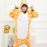 2017 Cute Autumn And Winter Cartoon Animals Giraffe Flannel Unisex Pajamas For Women Adult Long Sleeve