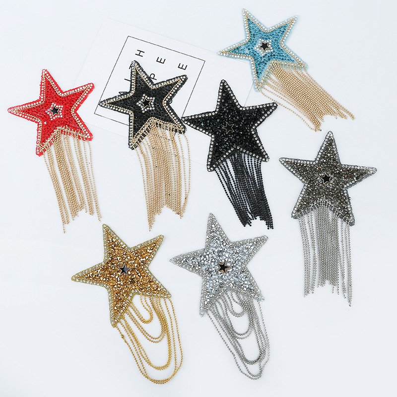 Coloured Sparkling Rhinestone  Five-pointed Star Tassel Clothes Patches Patches for Clothing Appliques Iron-on  stickers