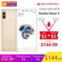 Global Version Xiaomi Redmi Note 5 4GB 64GB 5.99Full Screen Dual Camera Mobile Phone Snapdragon 636 Octa Core 4000mAh Telephone