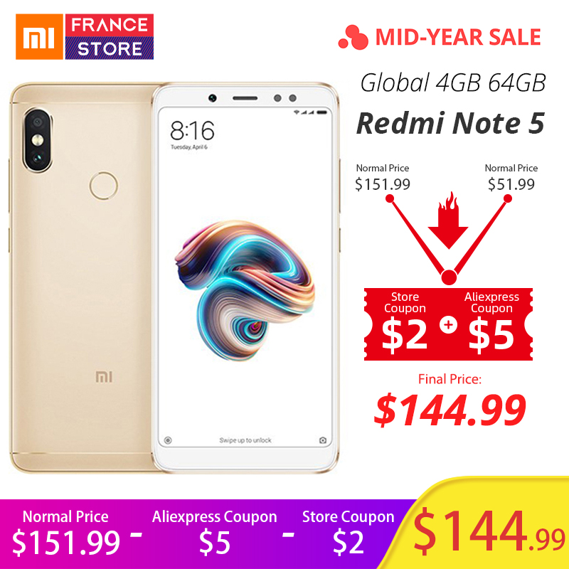 "Global Version Xiaomi Redmi Note 5 4GB 64GB 5.99""Full Screen Dual Camera Mobile Phone Snapdragon 636 Octa Core 4000mAh Telephone"