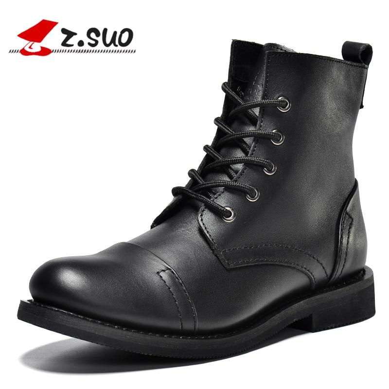 ZSuo 2019 nuevas botas de cuero genuino de alta calidad para hombre de marca de moda con cordones de alta calidad para hombre botas para hombre negro marrón-in Botas básicas from zapatos    1
