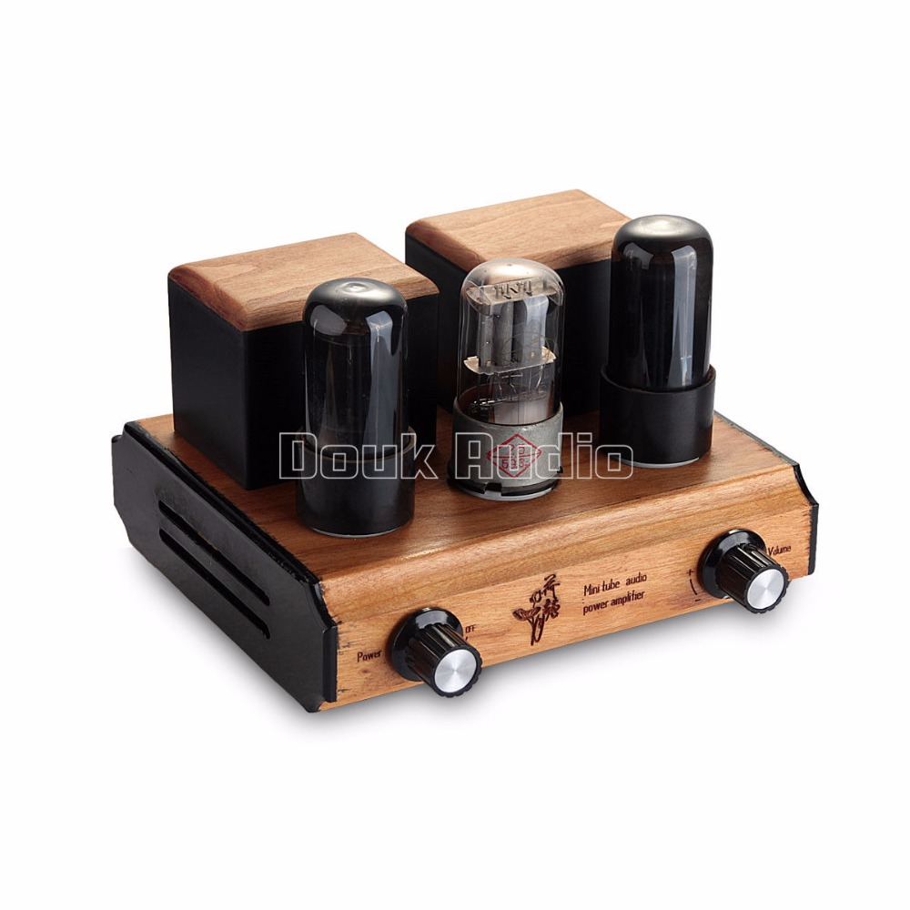 Douk Audio Vintage Mini 6P6P Tube Power Amplifier Single-Ended Stereo HIFI AMP 3.5W*2 Pure Handmade silver mini tube amplifier appj pa0901a 6n4 6p14 tube upgrade to el84 12ax7b original minwatt n3 smallest tube audio amplifier