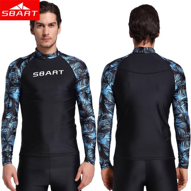 a2099658cb SBART Summer Men Windsurf Rash Guards Lycra Surf Swim Shirt UV Protection  Rash Guard Diving Tops Long Sleeve Sunscreen Swimsuit