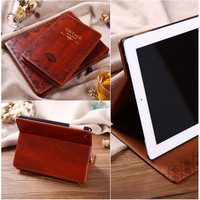 Luxury Retro Ancient Vintage Old Flip Book Style PU Leather Case Magnetic Stand Smart Cover For