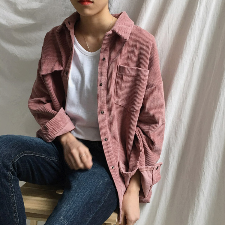 New Harajuku Corduroy Jackets Women Winter Autumn Coats Plus Size Overcoats Female Big Tops Cute Jackets Solid Color Clothing 2