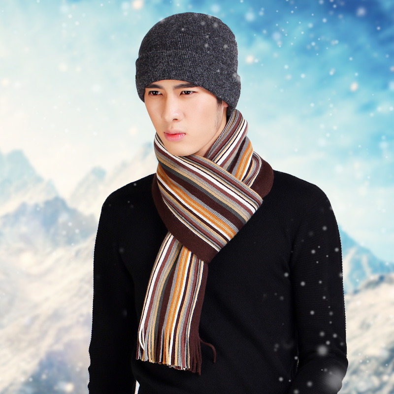 Men s winter hat hat scarf two piece winter knitted hat female cycling ear cap thick