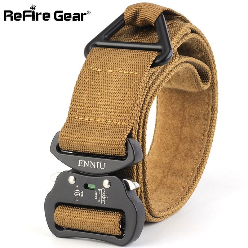 Refire Gear Military Equipment Quick Release Army Belt Men Heavy Duty Combat Tactical Belt Casual Durable Nylon Strap Waist Belt Apparel Accessories