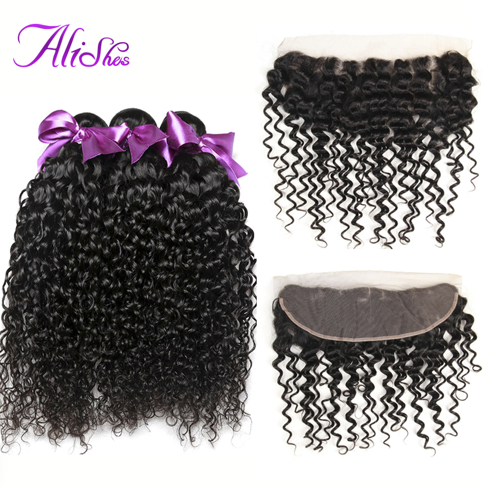 Alishes Peruvian Curly Hair Lace Frontal Closure 100% Human Hair Bundles With Ear To Ear Frontal Remy Hair 10-28 Mixed Length