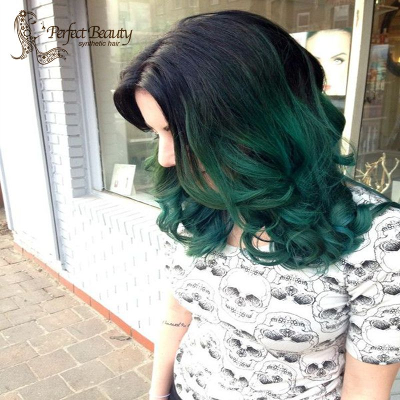 Ombre Green Lace Front Wig Heat Resistant Dark Roots Green Hair Fashion Hairstyle Cosplay Wig Anime от Aliexpress INT