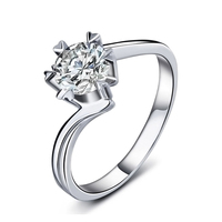 1CT 6x6 Engagement Ring Women Cubic Zirconia Hearts and Arrows Cut Genuine 925 Sterling Silver Jewelry Anniversary Gift for Wife
