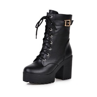 Fashion 2016 Women Martin Boots Lace Up High Heels 9 5 Cm Women Motorcycle Boots Casual