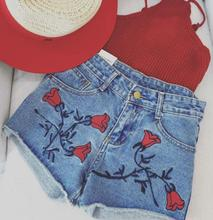 New Summer Women's Rose Embroidered Denim Shorts Korean casual Hot Jeans shorts D1274