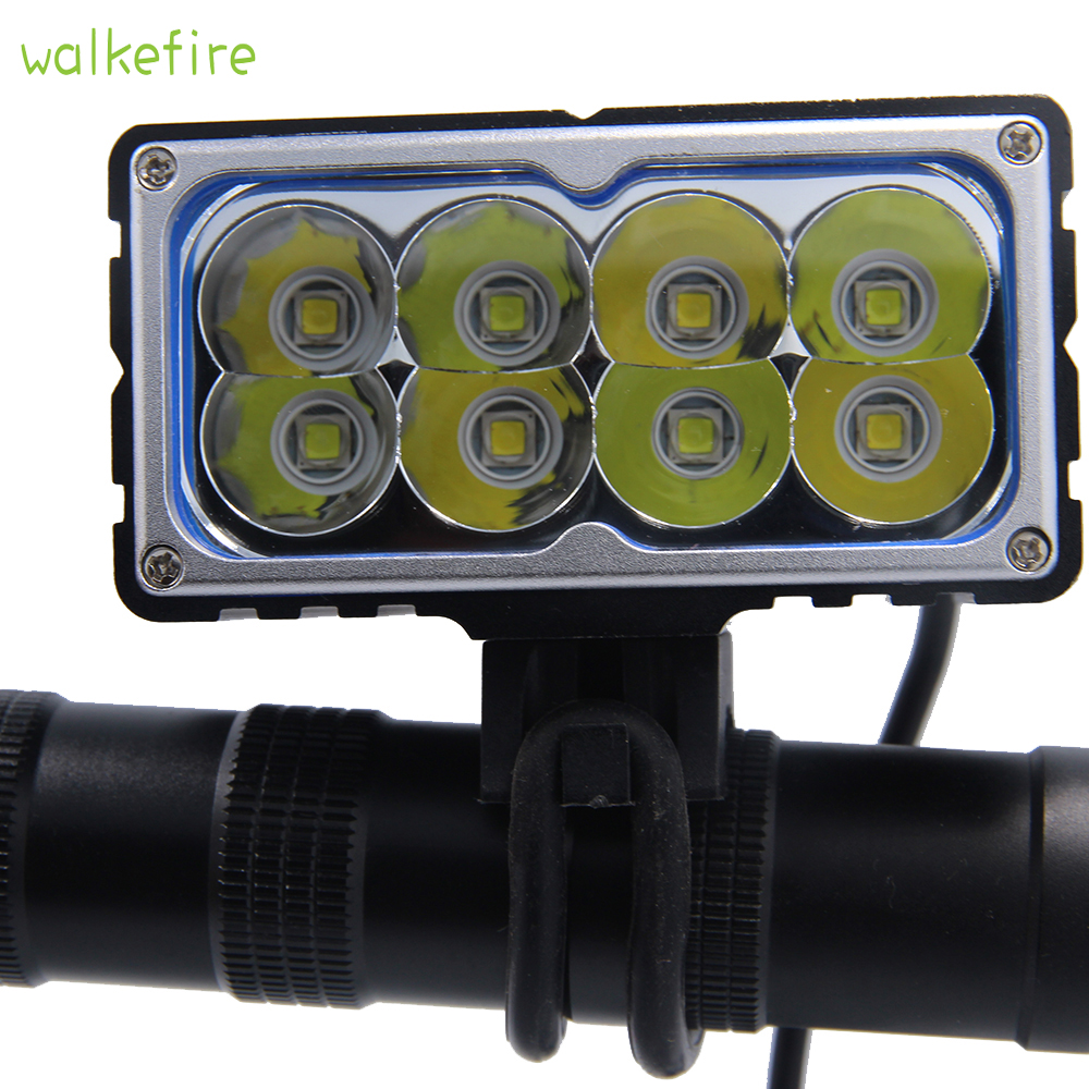 Walkefire 8 X  XM-L2 (u2) LED Bicycle Light 9600LM 8xT6 LED Lamp Bike Light Lamp Frontlight 18650mAh Battery Pack