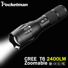 100% Authentic 2000 Lumens 5-Mode CREE XM-L T6 LED Flashlight Zoomable Focus Torch by 1*18650 or 3*AAA Free shipping