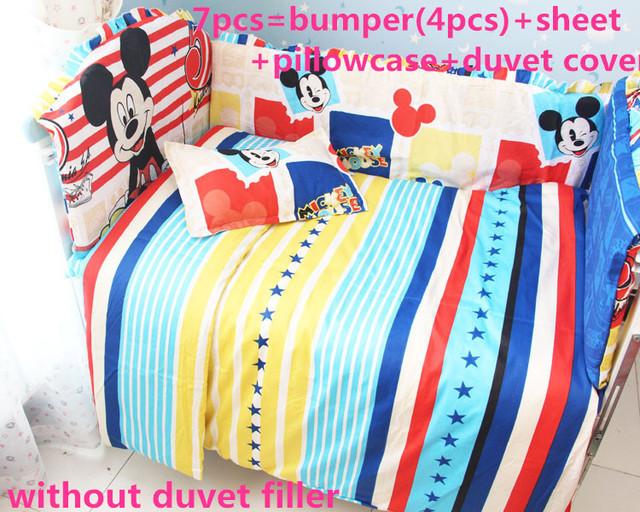 Promoção! 6 / 7 PCS navio de Mickey Mouse berço, Capa de edredão, Fundamento do bebê Bumpers berço conjuntos de cama em torno do bebê, 120 * 60 / 120 * 70 cm