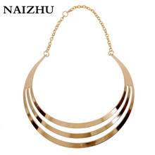 Fashion Multilayer Statement Necklaces for women Vintage Punk style Gold Color Choker Collar Necklaces party prom jewelry