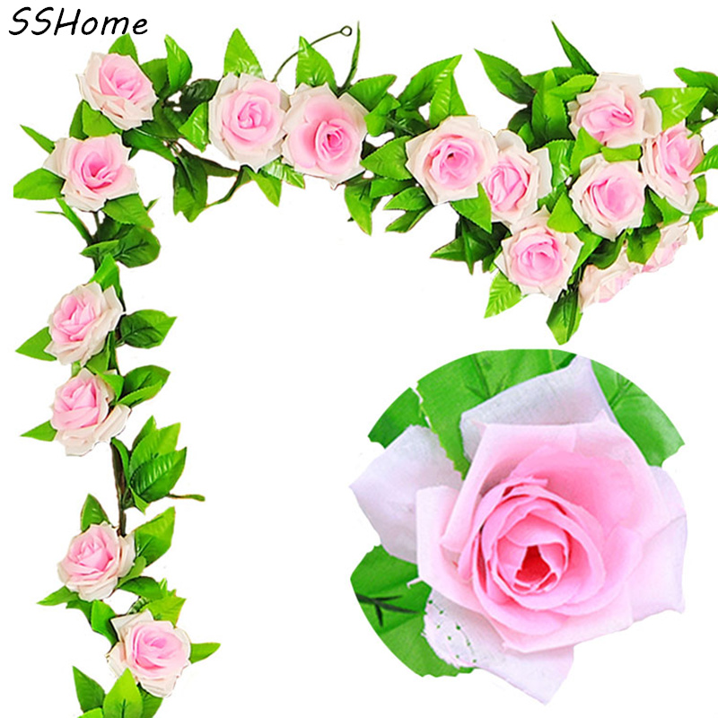 Artificial Flowers Silk Rose Vines for a Wedding Home Party Decoration Real Touch Christmas Flower 240cm