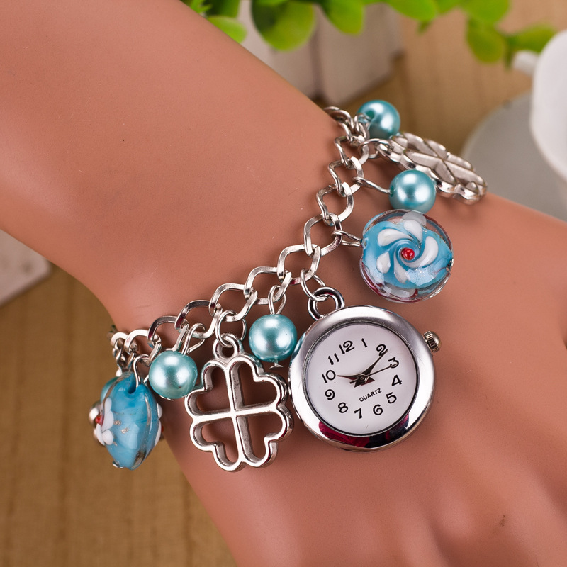2017 Top brand fashion gold quartzwatch Elegant women Pearl Pendant Watches Luxury Bracelet WristWatches relogio feminino