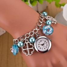 2017 Top marca de moda de oro quartzwatch Elegante mujeres Perla Colgante Pulsera Relojes de Lujo Relojes de Pulsera relogio feminino LZ080
