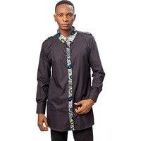 African print men's shirts fashion man dress shirt male dashiki Ankara black&wax patchwork custom banquet shirt
