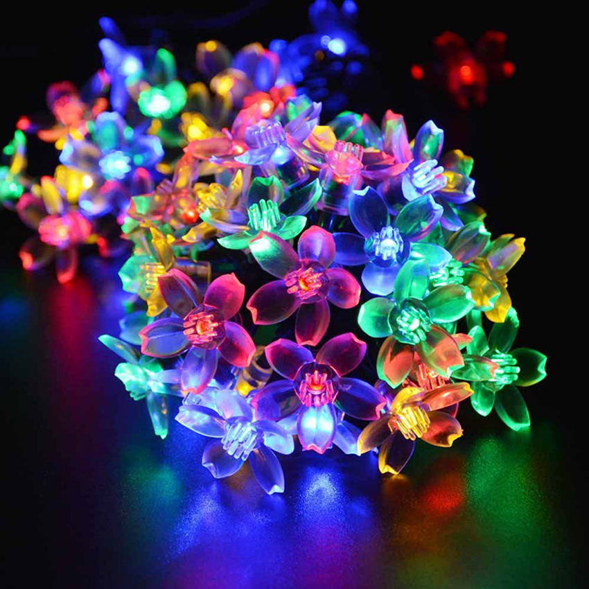 Outdoor Solar String Lights 7M 50 Led oriental cherry Fairy Light for Garden Patio Wedding Party Bedroom Christmas Decoration