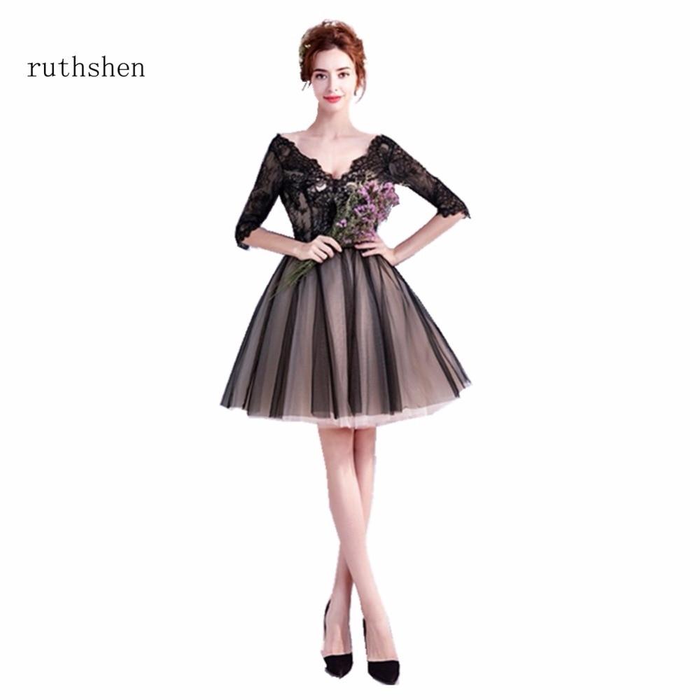 Ruthshen Sexy Black Cheap Homecoming Dress Real Photo Junior Teens Short Prom Dresses Ruffles Organza Graduation Party Dresses