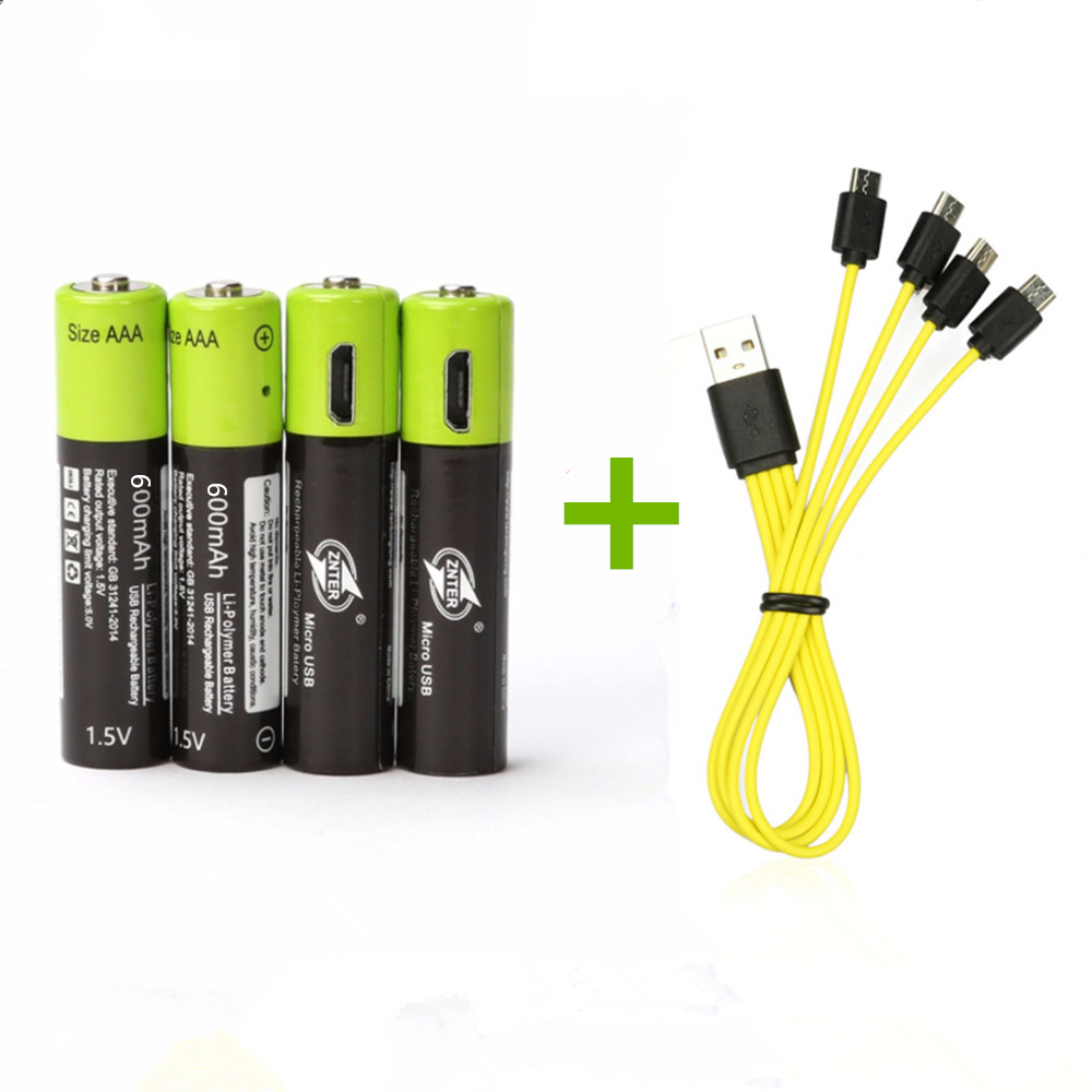 4PCS New ZNTER 1.5V 600mAh AAA Rechargeable Battery USB Rechargeable Lithium Polymer Battery with Micro USB Cable Fast Charge