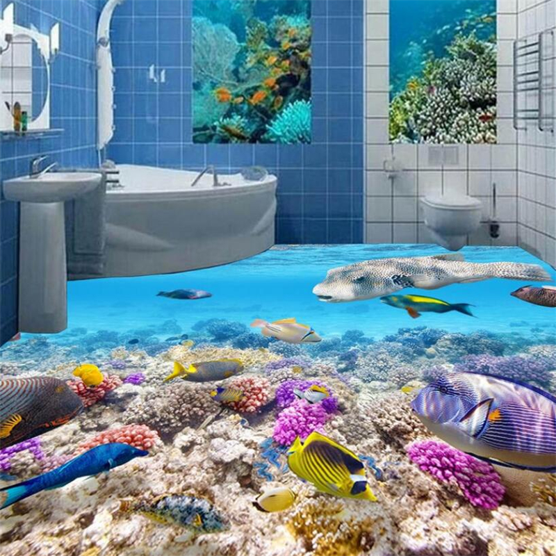 Beibehang Flooring on the floor of the high-definition underwater world fish 3D stereo tile floor draw room bedroom 3d floor melba kurman fabricated the new world of 3d printing